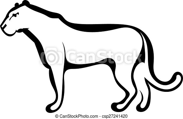 Vector Illustration of Sketch silhouette profile of a lioness ...