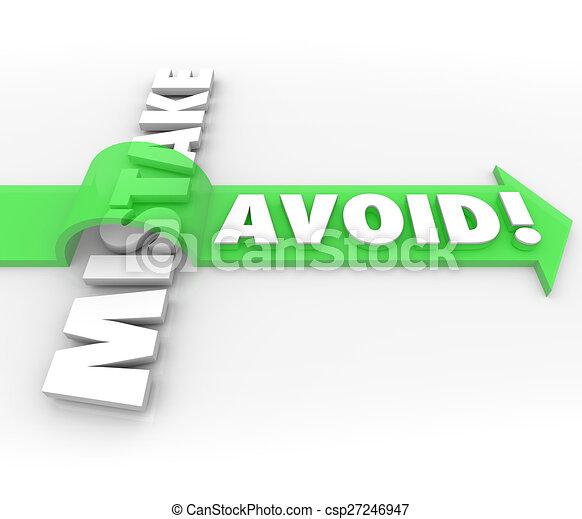 Avoid Mistake Arrow Over Word Prevent Problem Error - csp27246947