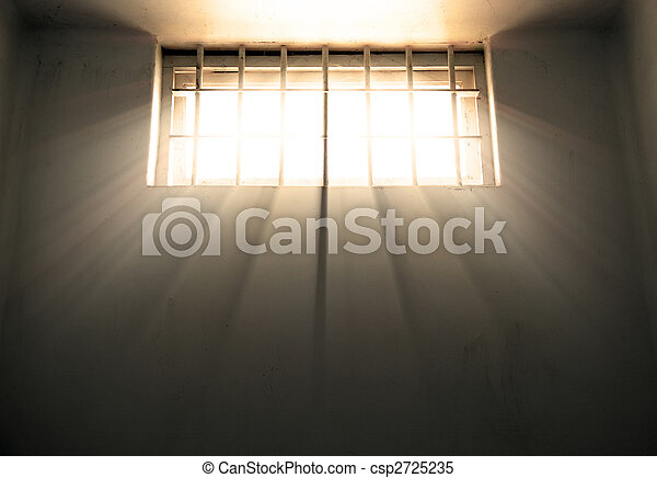 freedom hope and despair jail window - csp2725235