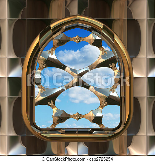 gothic or scifi window with blue sky - csp2725254