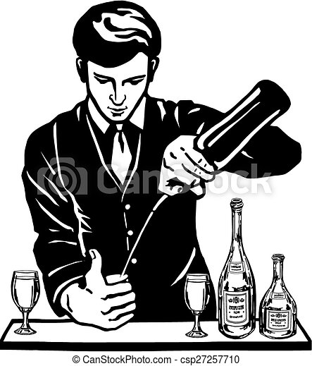 vector clip art of bartender at the bar with bottles waitress clipart png waitress clipart black and white