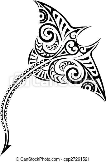 vector illustration of polynesian style mantaray polynesian manta ray design csp27261521. Black Bedroom Furniture Sets. Home Design Ideas