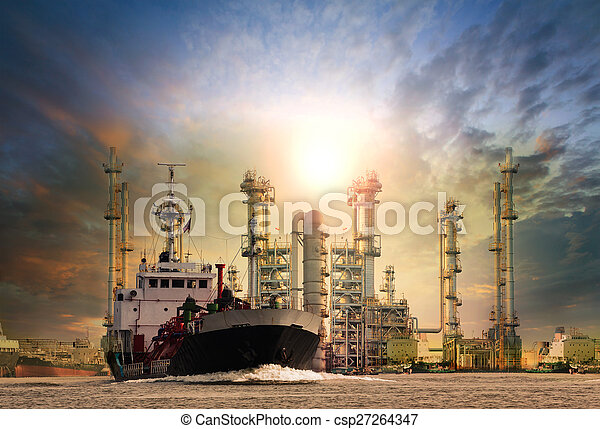 gas tanker ship and oil refinery plant background use for oil , f