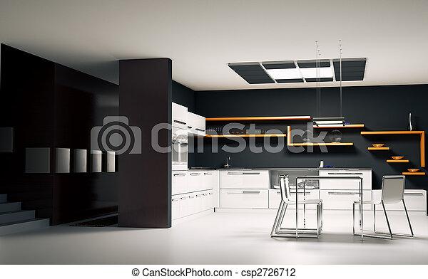 Modern kitchen interior 3d render - csp2726712