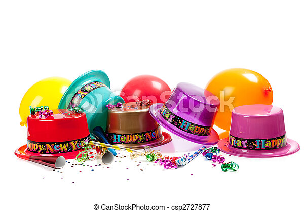 Happy New year hats on white - csp2727877