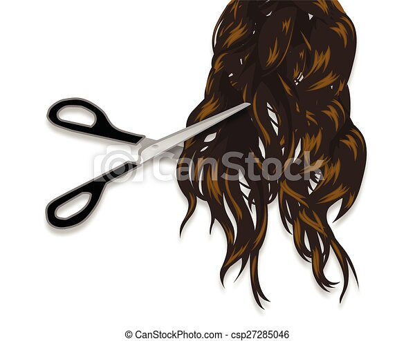 EPS Vector of Long hair and professional scissors - Scissors cut ...