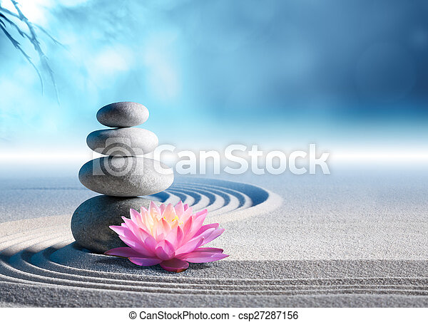 sand, lily and spa stones in garden