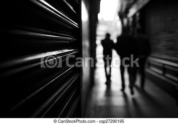 Shadow people walking