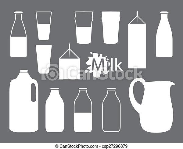 milk bottle silhouettes - csp27296879