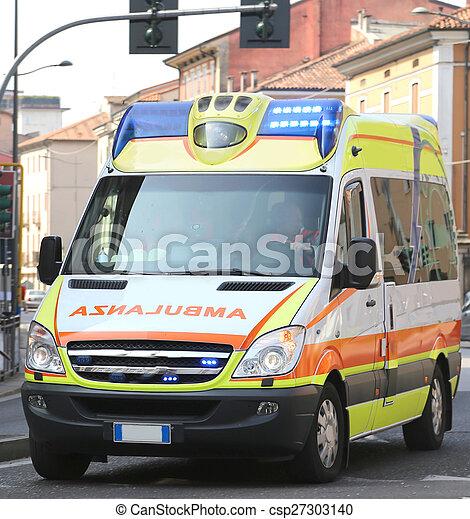 Italian ambulance runs during a medical emergency