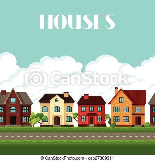 Vector clip art de pueblo, casas, frontera, seamless, cabañas ...