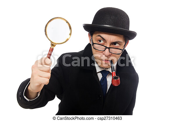 Sherlock Holmes with magnifying glass isolated on white - csp27310463