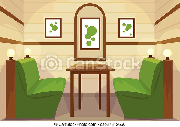 Restaurant Table Interior Room Cafe Vector - csp27312666