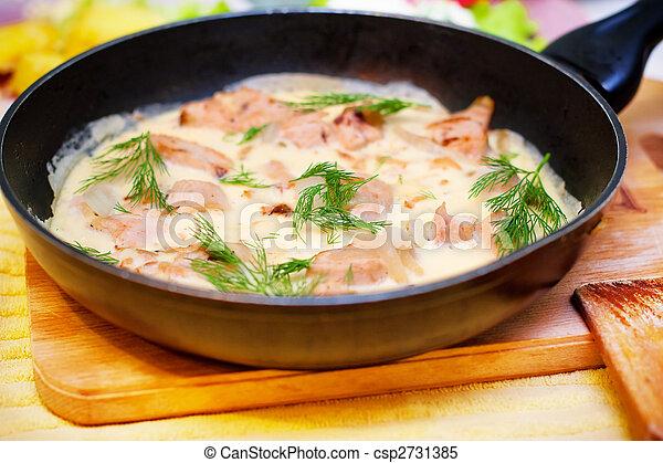 Omelet in pan Regards from chicken - csp2731385