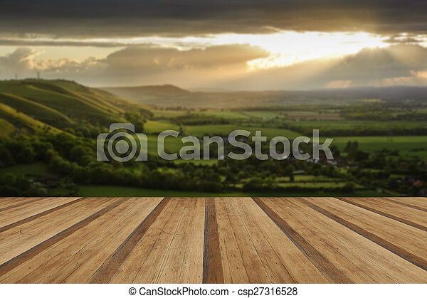 Lovely landscape of countryside hills and valleys with wooden planks floor