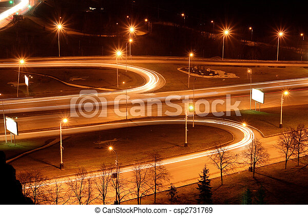 traffic on night road junction - csp2731769