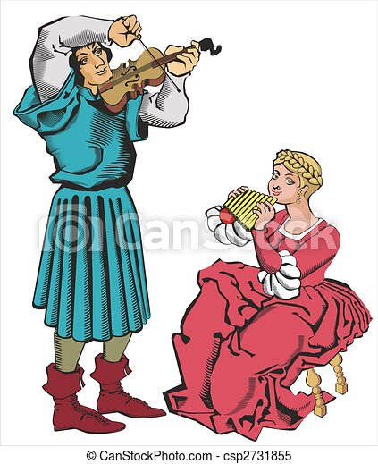 Stock Illustrations of Musikiants - A couple of young musicians ...