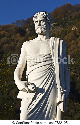 Aristotle statue located at Stageira of Greece - csp2732125