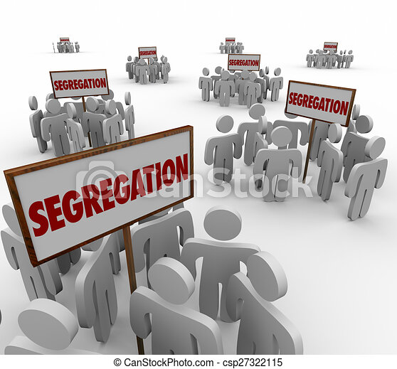 Clipart of Segregation Signs Groups People Divided Discrimination ...