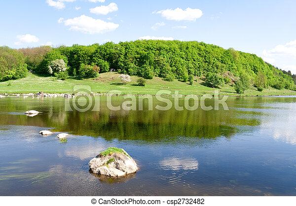 blaues, sommer, Natur, Fluß - csp2732482
