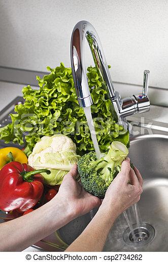 Washing vegetables - csp2734262