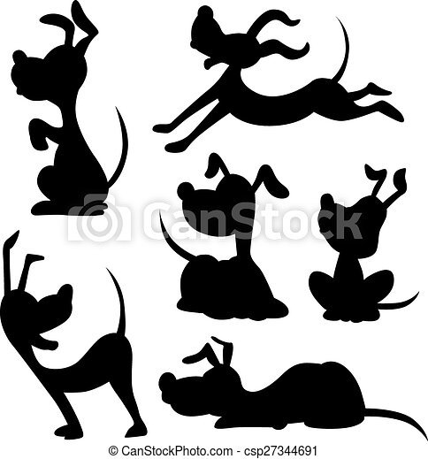 EPS Vectors of funny dog silhouette - vector illustration ...