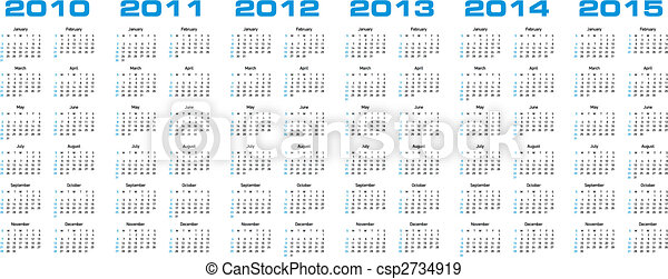 calendar for 2010 through 2015 - csp2734919