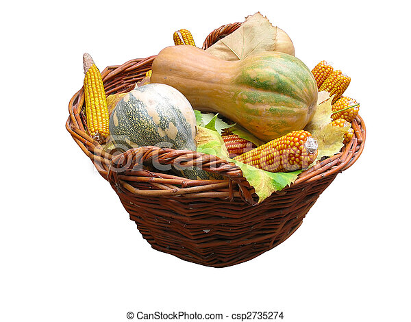 Harvest vegetables in a wooden box isolater over white - csp2735274