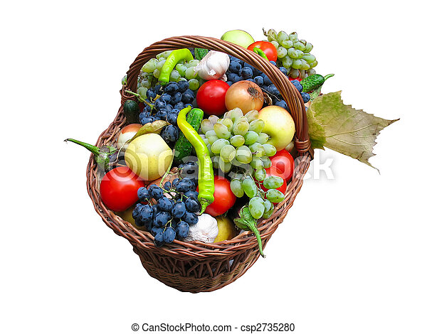 Harvest fruits and vegetables in a wooden box isolater - csp2735280