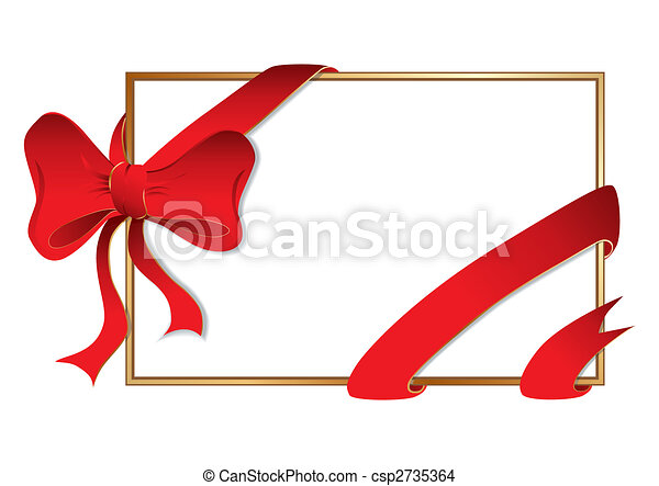 Golden frame with big bow - csp2735364