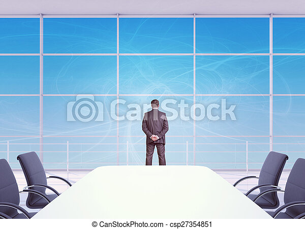 Stock Images of Businessman looking out office window, rear view ...