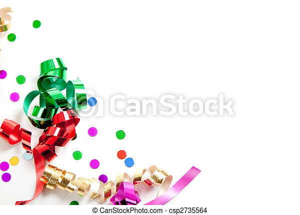 Ribbons and confetti on white with copy space - csp2735564
