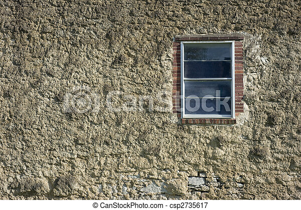 Old cement or masonry wall with window - csp2735617