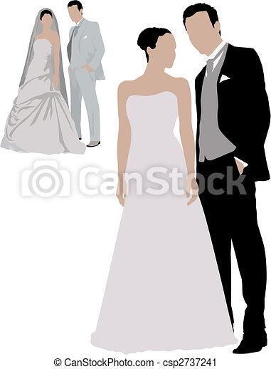 clip art vecteur de mariage deux couples couleur. Black Bedroom Furniture Sets. Home Design Ideas