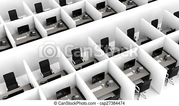 Interior of a modern office cubicles - csp27384474