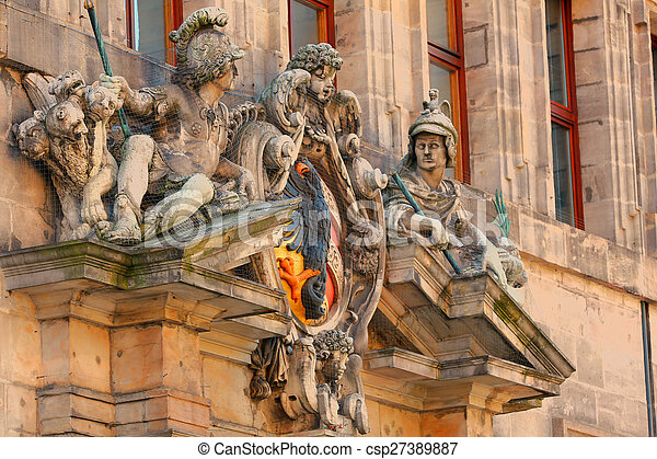 Sculpture on a facade of the museum of Nuremberg, Germany