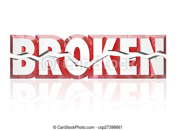 Stock Illustration of Broken Red 3d Word Injury Out of Order ...