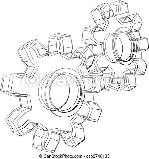 Cogwheels sketch - csp2740135