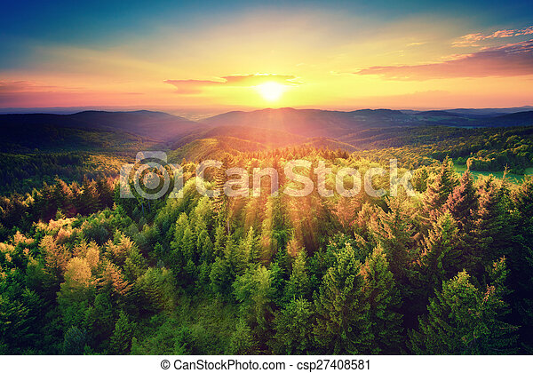 Bird\'s-eye view of a scenic sunset over the forest hills, with toned dramatic colors