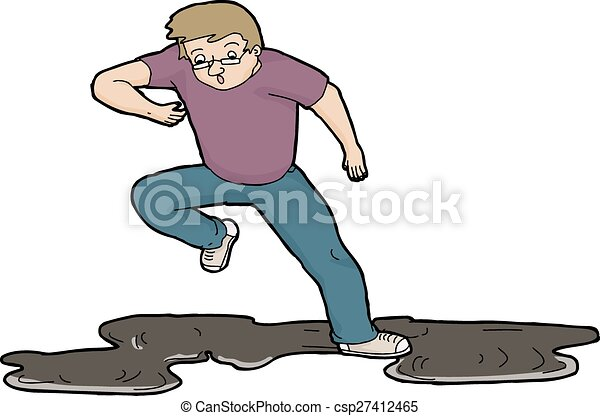 Man Slipping On Oil - csp27412465