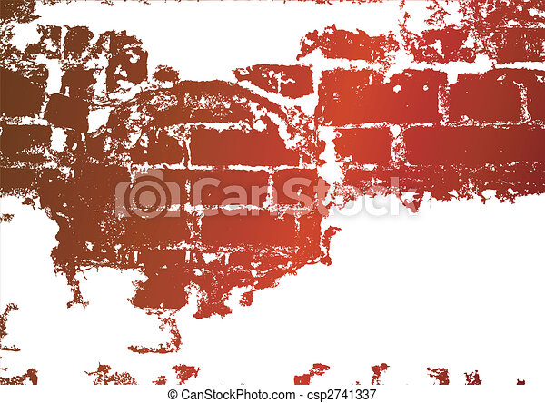 Old brick wall, stained whitewash - csp2741337