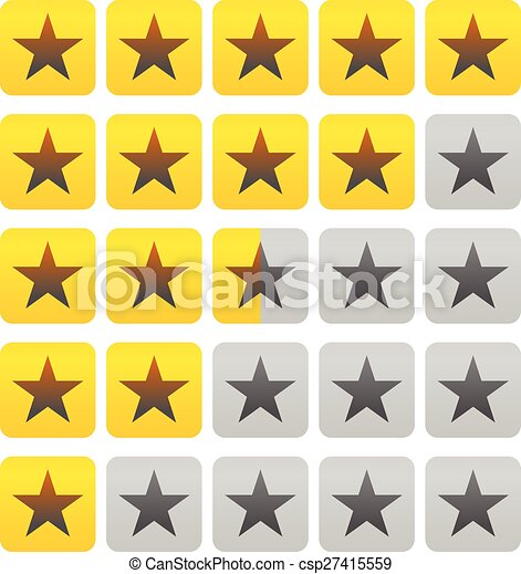 Clipart Vector of Star rating element (Half square included ...