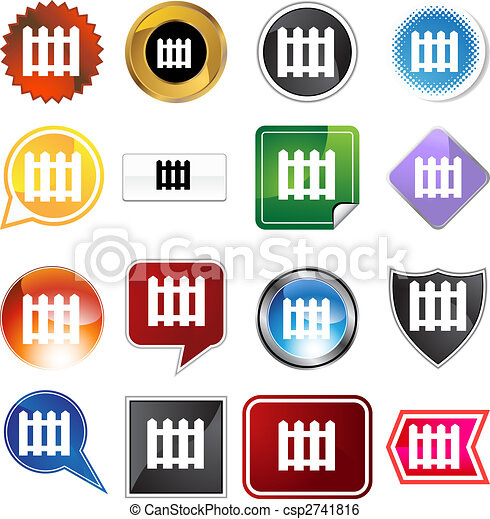 Picket Fence Icon Set - csp2741816