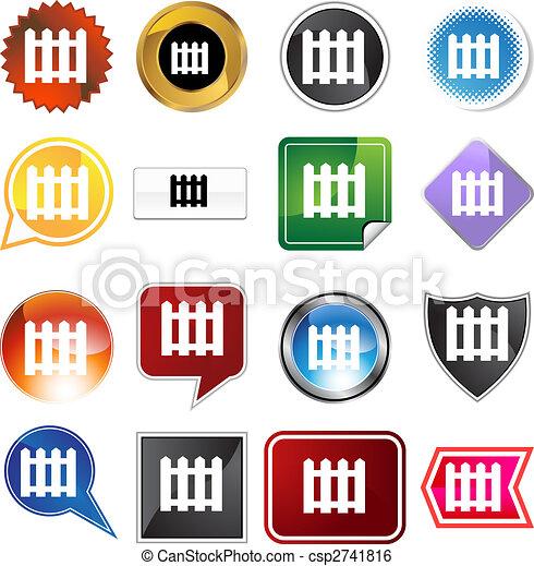 Picket Fence Icon Set - csp2741816