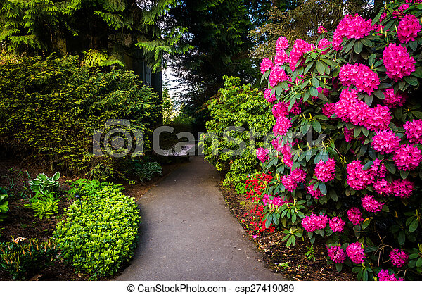 Gardens along a walkway outside the Pittock Mansion, in Portland, Oregon.