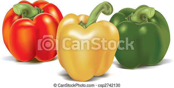 Three ripe colored sweet peppers - csp2742130