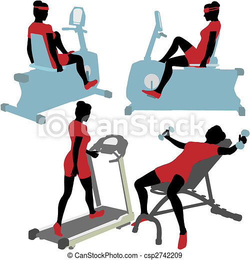 Women on gym fitness exercise machines - csp2742209