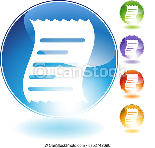 Receipt Crystal Icon - csp2742690
