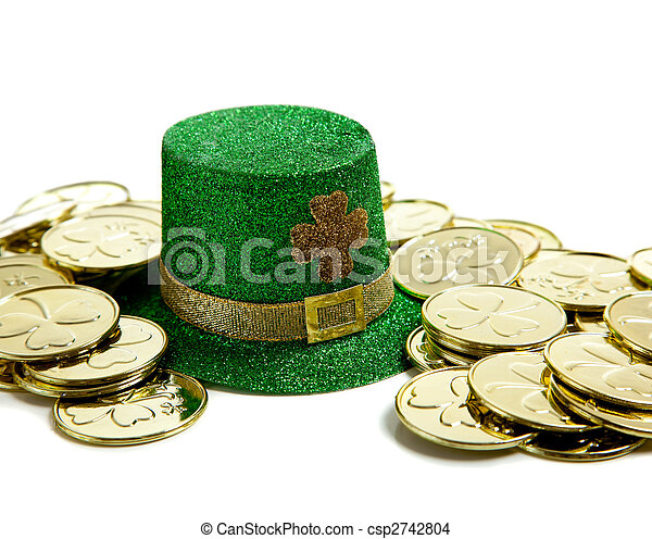St. Patricks Day Decoration with Gold coins and a hat - csp2742804