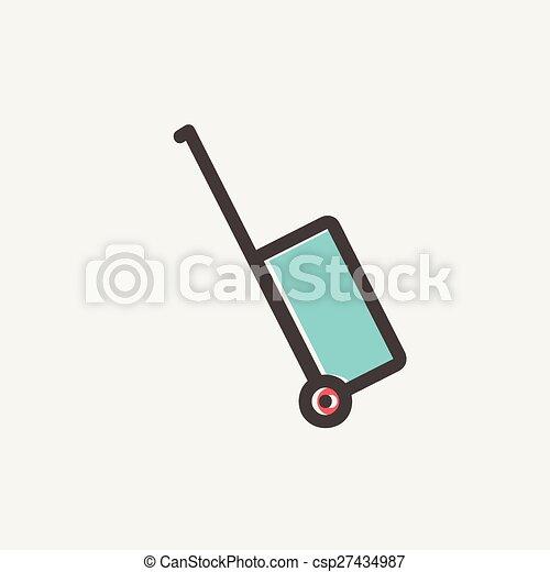 線, 運搬人, 手荷物, 薄くなりなさい, アイコンベクトル